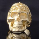 GOLD PLATED SKULL TRIBAL TATTOO FACE BIKER RING US SZ 8