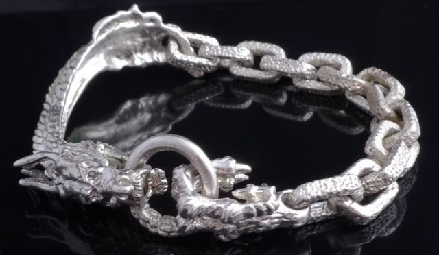 FANCY DRAGON CLAW 925 SILVER PLATED SOLID HEAVY BIKER BRACELET 8.5""