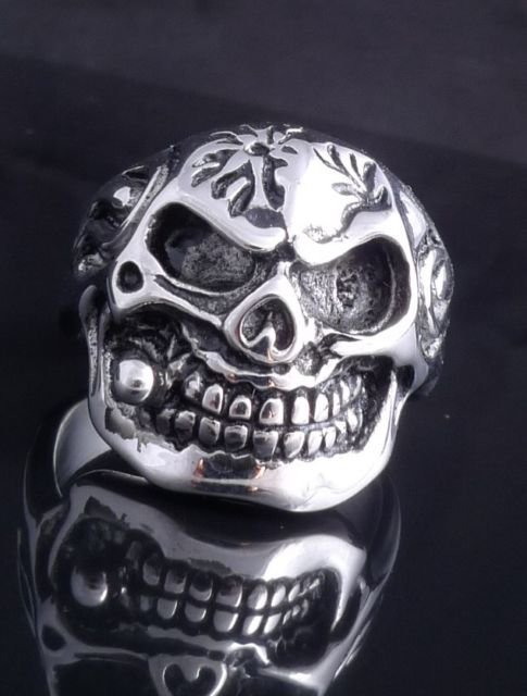 STAINLESS STEEL AMAZING SKULL PIPE CHOPPER ROCKSTAR RING US SZ 10