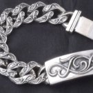 TATTOO ROCKER BIKER SOLID 925 STERLING SILVER BRACELET 9""