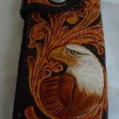 BIFOLD CARVED TRIBAL EAGLE FLOWER BLACK CALF LEATHER WALLET