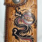 BIFOLD CARVED TRIBAL FLOWER DRAGON CALF LEATHER WALLET