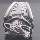 925 STERLING SILVER HEAVY AND SOLID WOLF HEAD BIKER KING RING US sz 10.25
