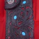 BIFOLD CARVED TRIBAL RED PYTHON SKIN ROCK STAR BIKER CHOPPER CALF LEATHER WALLET