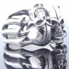 925 SILVER TWISTED SKULL MAGICAL LOWRIDER CHOPPER RING US SZ 7 TO 15