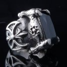 CLAW 925 STERLING SILVER BATTLE AXE BLACK ONYX OUTLAW CHOPPER RING 7 to 15