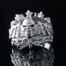 Skull Bat Crown Biker Chopper Plated Silver Ring US sz 10.25,11.25, 12.5