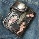 CARVED FLOWER TRIBAL FEATHER GOTHIC  CROSS BIKER CHOPPER CALF LEATHER WALLET