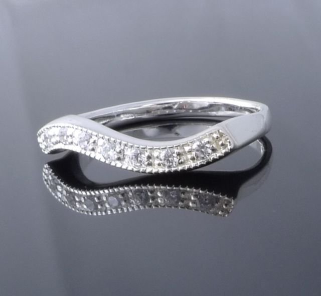 Sterling 925 Silver Zirconia Elegant Ladies Ring US sz 7, 7.5, 8, 9