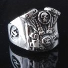 925 STERLING SILVER PISTON SKULL V2 ENGINE TRIBAL BIKER RING US sz 7 to 15