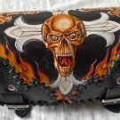 Carved Gothic Cross Skull Flame Front Bar Leather Outlaw Biker Tool Kit Bag New