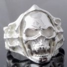 Skull Bone Biker Chopper Plated Silver Ring US sz 11.75