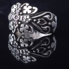 925 SILVER MALTESE CROSS GOTHIC TRIBAL ZIRCONIA GEMSTONE RING US sz 9.75
