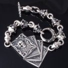 925 SILVER TRIBAL SKULL CARD DECK BIKER CHOPPER LIVE TO RIDE BRACELET 8.25""