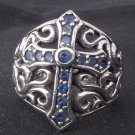 925 Sterling Silver Gothic Cross Music Player Bike Rider Outlaw Ring US sz 10
