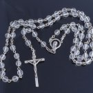 "925 Sterling Silver Crucifix Gothic Cross Glass Beads Rosary Necklace 26"" NEW"