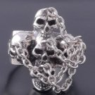 STERLING 925 SILVER IRON CROSS SKULL IN CHAINS LIVE TO RIDE BIKER RING US sz 10