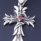 925 STERLING SILVER GOTHIC FLEUR CROSS RED ZIRCONIA GEM BIKER PENDANT
