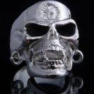 925 Sterling Silver Plated Pierced Skull Jaw Motorcycle Biker Ring US sz 10.5