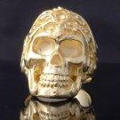 GOLD PLATED SKULL TRIBAL TATTOO FACE BIKER RING US SZ 7.5