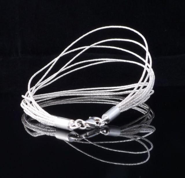 "Shiny Multi Thread String Silver Ladies Bracelet 7.6"""