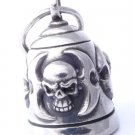 AMERICAN MOTORCYCLE RIDER SKULL JAW PEWTER GUARDIAN ANNVERSARY BIKER BELL