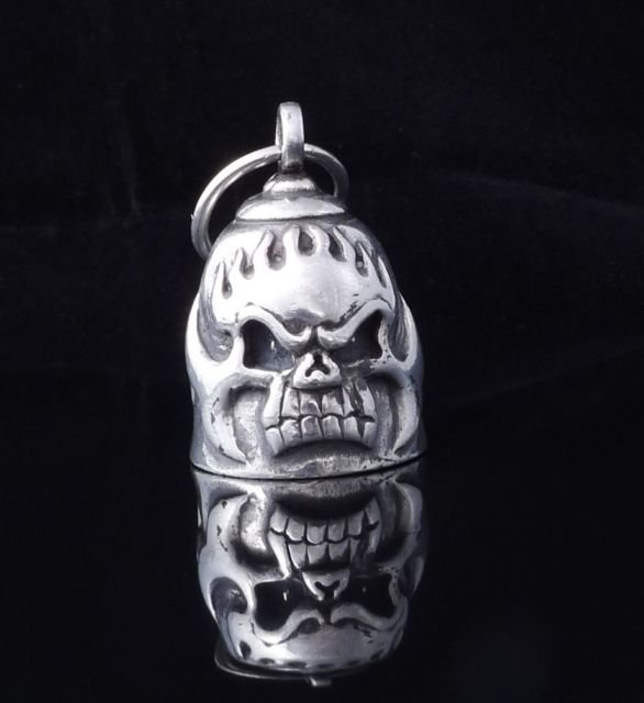 AMERICAN MOTORCYCLE CHOPPER TRIBAL SKULL FLAME PEWTER BIKER BELL