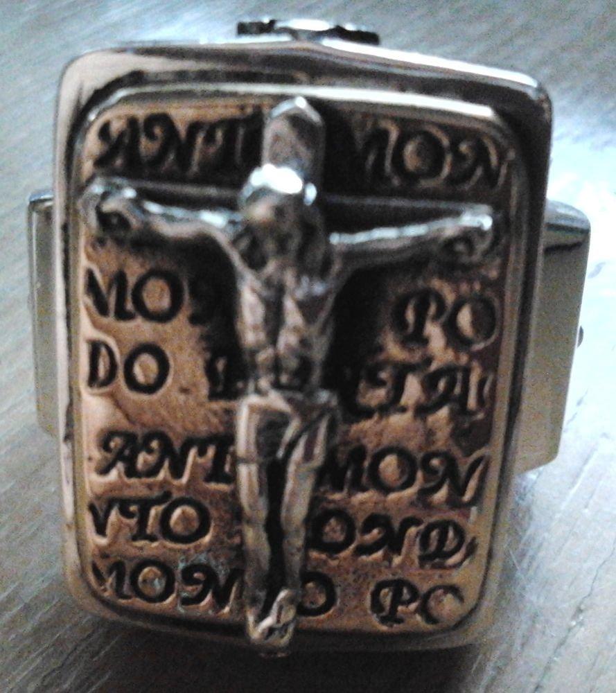 925 STERLING SILVER JESUS PAPA CROSS CRUCIFIX RING US SZ 6-15