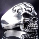 SKULL FLAME TATTOO 925 STERLING SILVER CHOPPER RIDER RING US SZ 6-15