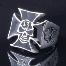 STAINLESS STEEL LUCKY 13 SKULL MALTESE CROSS CHOPPER RING US SZ 8,12.5,13