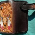 BIFOLD CARVED TRIBAL BULLHOR FLOWER FEATHER INDIAN CALF LEATHER CHOPPER WALLET
