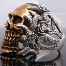 925 STERLING SILVER GOLD PLATED SKULL ZIRCON BIKER CLAW RING US sz 7 to 15