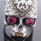 925 STERLING SILVER GOLD PLATED SKULL RED ZIRCON GEMEYE BIKER RING US sz 7 to 15
