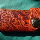 BIFOLD CARVED DRAGON BROWN CALF LEATHER WALLET WITH CONCHO