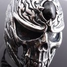 925 STERLING SILVER SKULL GEM FEATHER TRIBAL MEN'S BIKER RING US sz 7 to 15