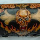 CARVED SKULL FLAME MOTORBIKE LIVE TO RIDE OUTLAW FRONT FORK LEATHER TOOL BAG