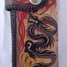 BIFOLD CARVED DRAGON  FLOWER CALF LEATHER WALLET