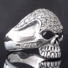 925 STERLING SILVER AMAZING SKULL ZIRCONIA GEMSTONE EYE BIKER RING US sz 11.25