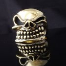 Skull Brass Biker Ring US sz 9.75, 11.25