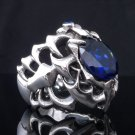 Sterling Silver Gothic Cross Tribal Crusader Blue Gem Chopper Ring US sz 11