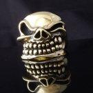 Skull Brass Biker Chopper Ring US sz 9, 9.75, 11.25