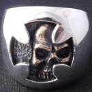 925 STERLING SILVER HIDDEN SKULL ROCKSTAR BIKER KING RING US sz 14.5 = Z4