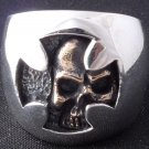 .925 STERLING SILVER HIDDEN SKULL CHOPPER BIKER RING 6 to 15