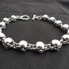 925 STERLING SILVER FATTY SKULL LINK CHOPPER BRACELET 10""