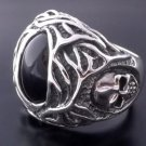 25 STERLING SILVER KING'S JEWEL BLACK ONYX SKULL BIKER RING US sz 6 to 15