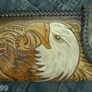 CARVED BI FOLD CALF TRIBAL EAGLE CHOPPER BIKER WALLET