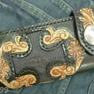 CARVED BI FOLD CALF TRIBAL CROSS CHOPPER BIKER WALLET