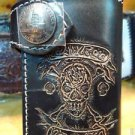 BIFOLD CARVED PIRATE BIKER CHOPPER CALF LEATHER SKULL WALLET