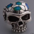 925 SILVER OPAL GEMSTONE SKULL BIKER CHOPPER RING US SZ 12
