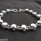 925 STERLING SILVER FATTY SKULL LINK T BAR CHOPPER BIKER BRACELET 7.5""